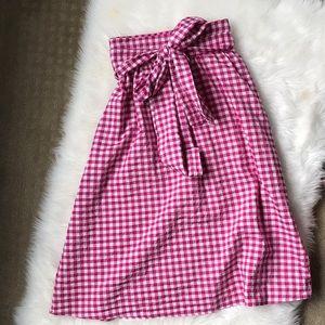 Zara pink gingham midi skirt